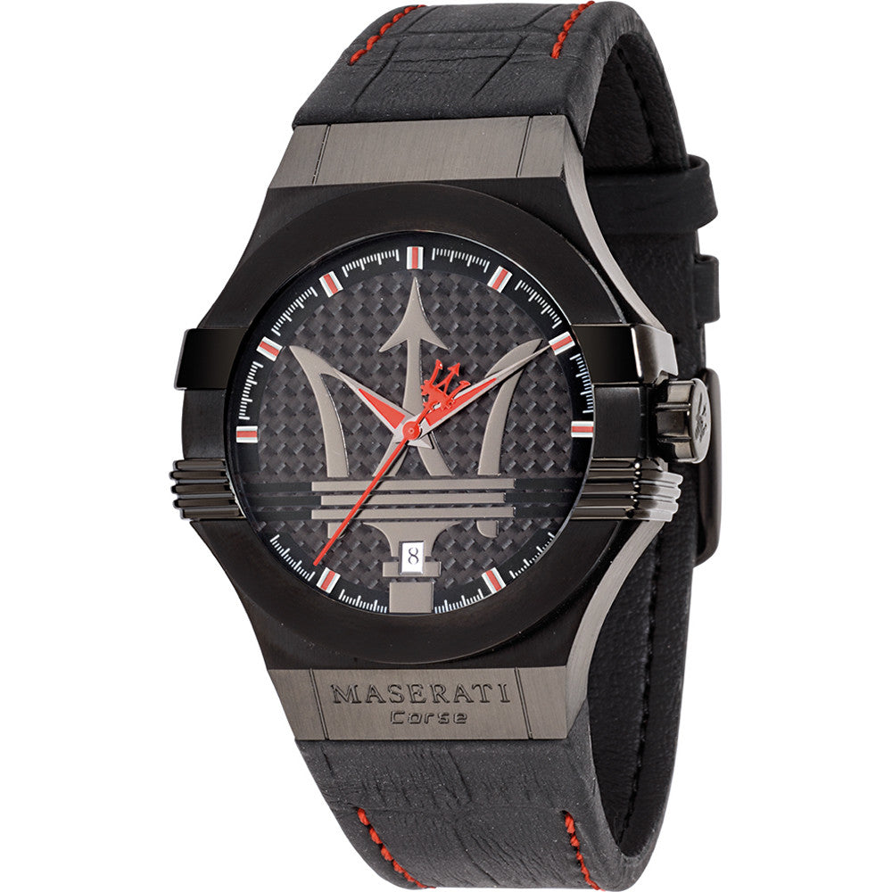 Maserati Potenza Black Dial Leather Strap Men's Watch R8851108010