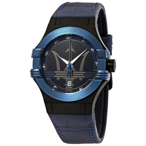 Maserati Potenza Black Dial Leather Strap Men's Watch R8851108007