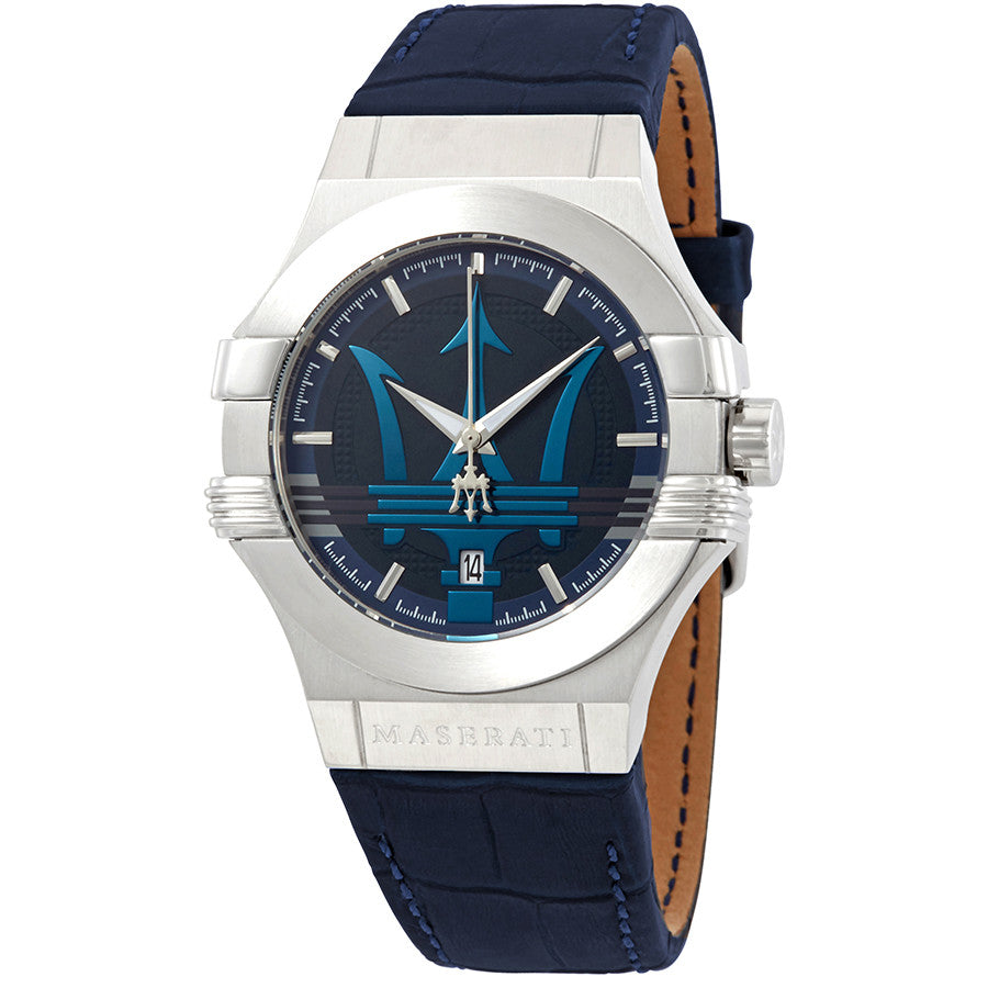Maserati Potenza Blue Dial Leather Strap Men's Watch R8851108015
