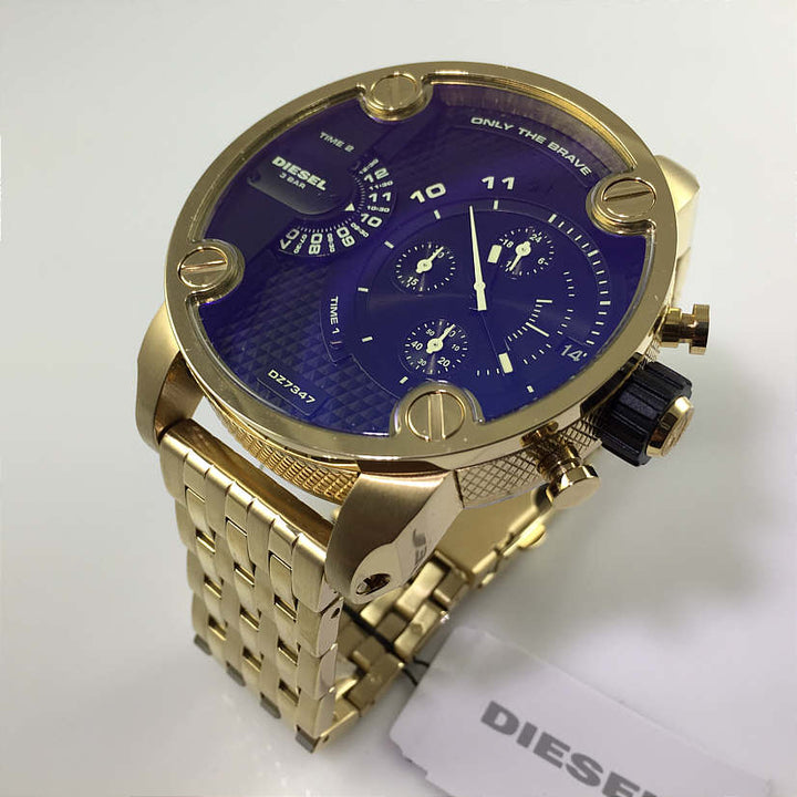 Diesel Big Daddy DZ7347 316L gold stainless steel 30m water resistant 2 time zones