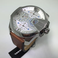 Diesel Big Daddy DZ7374 316L silver stainless steel & genuine leather strap 10ATM (100m) water resistant 4 Time zones (GMT)