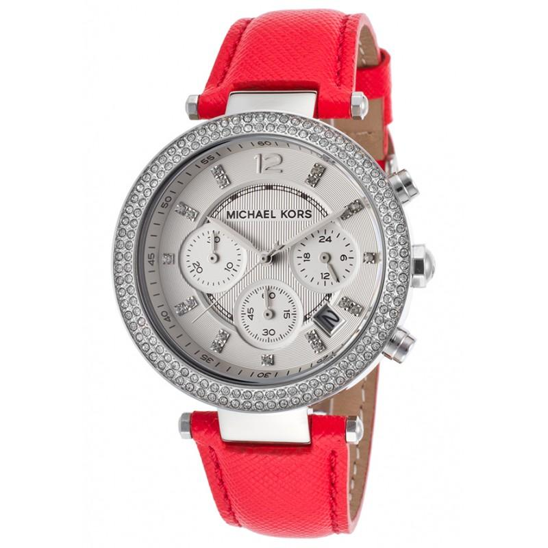Michael Kors Parker Chronograph Dial Pink Leather Ladies Watch MK2278