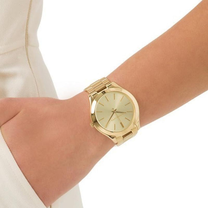 Michael Kors Slim Runway Champagne Dial Ladies Watch MK3179 Water resistance: 50 meters / 165 feet Movement: Quartz