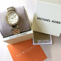 Michael Kors Mini Parker Champagne Glitz Dial Steel Ladies Watch MK6056 Water resistance: 50 meters / 165 feet Movement: Quartz