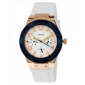 Guess Jet Setter White Dial Silicone Strap Ladies Watch W0564L1