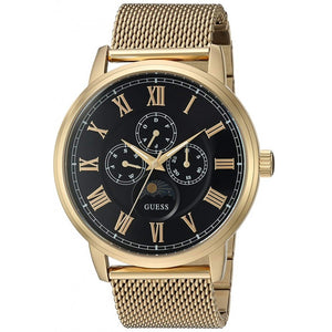 Guess Black Dial Gold-Tone Mesh Men's Watch W0871G2