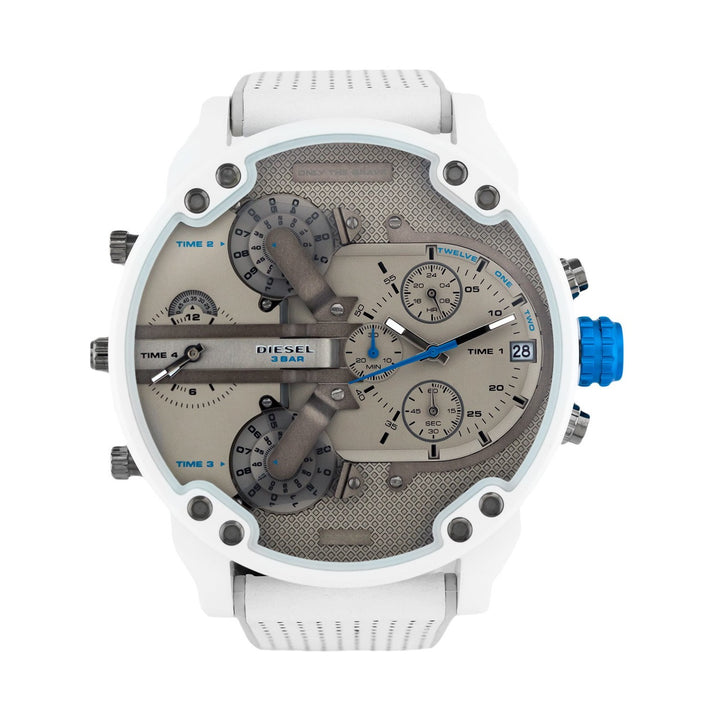 Diesel Big Daddy DZ7419 316L white stainless steel with a silicone strap 3ATM (30m) water-resistant 4 Time zones (GMT)