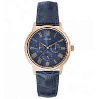 Guess Blue Dial Leather Strap Watch W0496G4