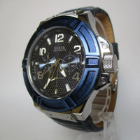 Guess Rigor Blue Dial Leather Strap Men's Watch W0040G7
