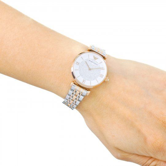 Emporio Armani White Crystal Pave Dial Two-tone Ladies Watch AR1926