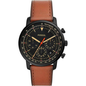 Fossil Goodwin Chronograph Black Dial Leather Strap Men's Watch FS5501