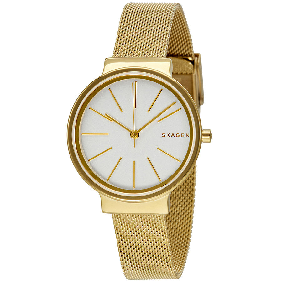 Skagen Ancher White Dial Gold Tone Mesh Ladies Watch SKW2477