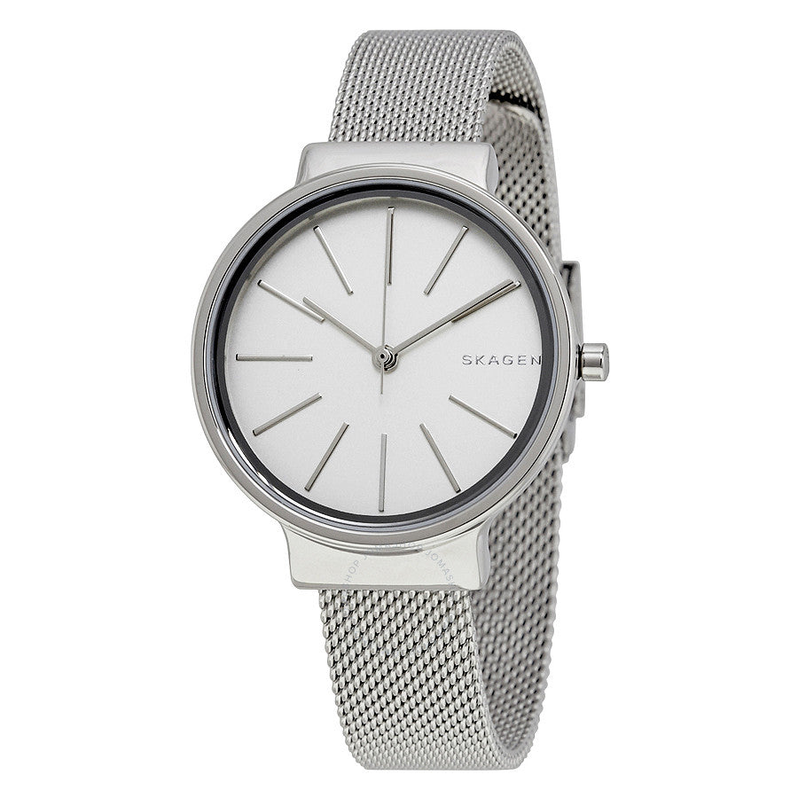 Skagen Ancher White Dial Stainless Steel Mesh Ladies Watch SKW2478