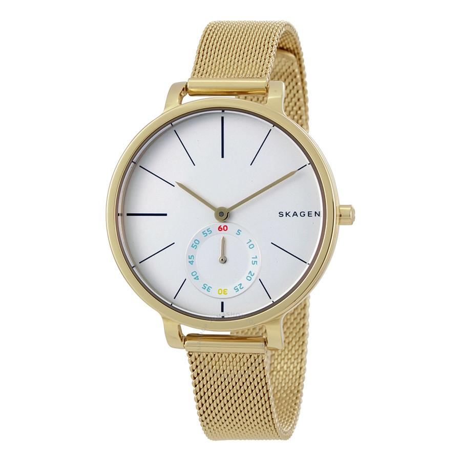 Skagen Hagen White Dial Gold Tone Ladies Watch SKW2436
