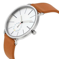 Skagen Hagen White Dial Tan Leather Strap Men's Watch SKW6215