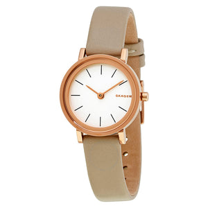 Skagen Hald White Dial Leather Strap Ladies Watch SKW2494