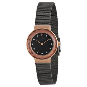 Skagen Leonora Black Mother of Pearl Dial Ladies Watch 456SRM