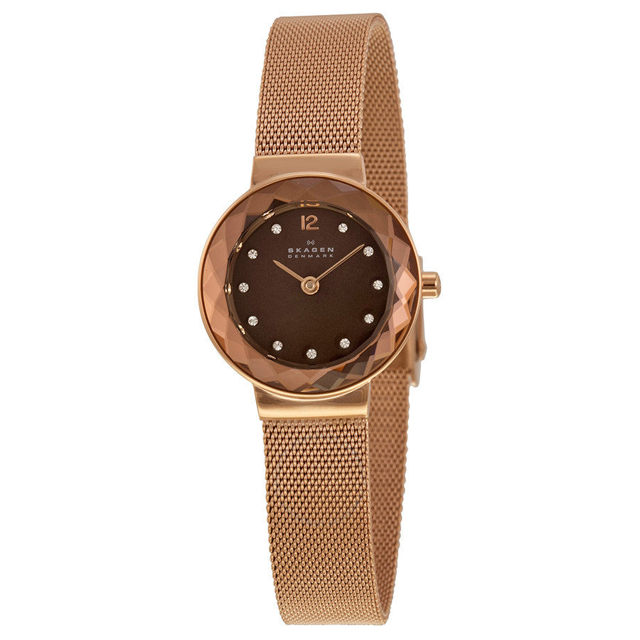 Skagen Leonora Brown Mother of Pearl Dial Ladies Watch 456SRR1