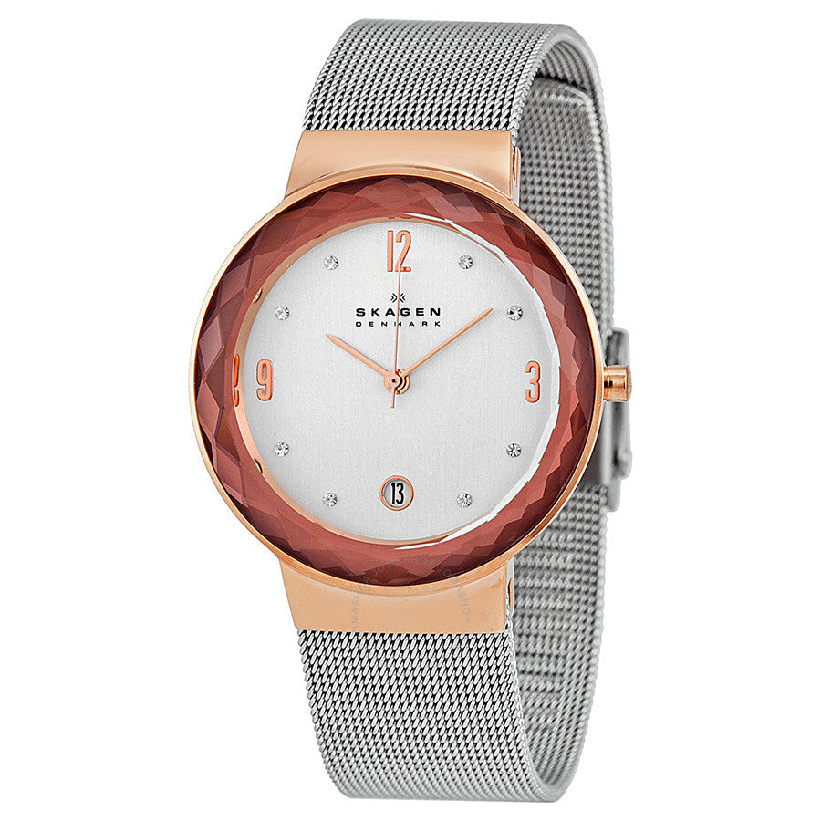 Skagen Leonora Silver Dial Stainless Steel Mesh Ladies Watch 456LRS