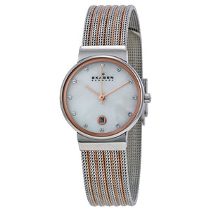 Skagen Mother of Pearl Dial Two-tone Mesh Ladies Watch 355SSRS
