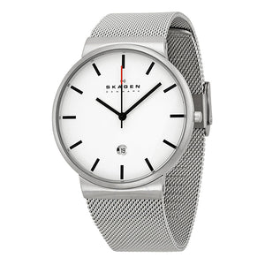 Skagen Perspektiv White Dial Stainless Steel Mesh Men's Watch SKW6052
