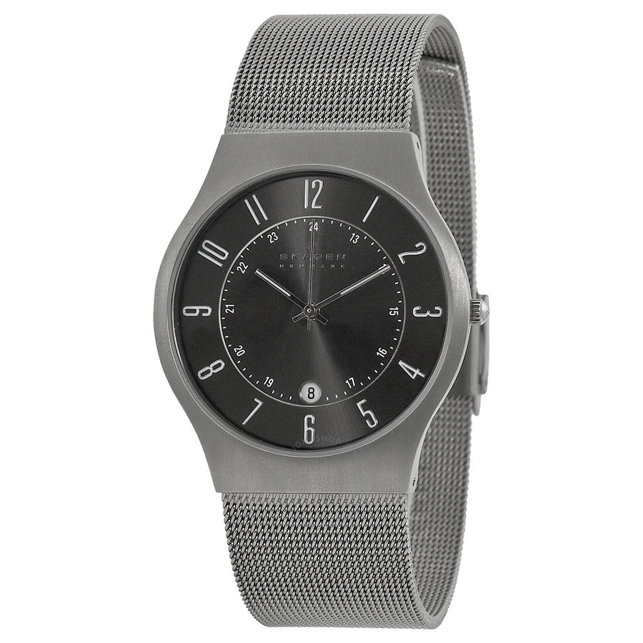 Skagen Gunmetal Dial Stainless Steel Mesh Men's Watch 233XLTTM