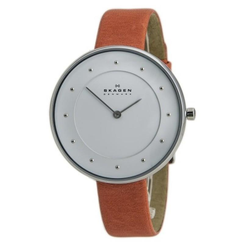 Skagen White Dial Rose Leather Strap Ladies Watch SKW2135