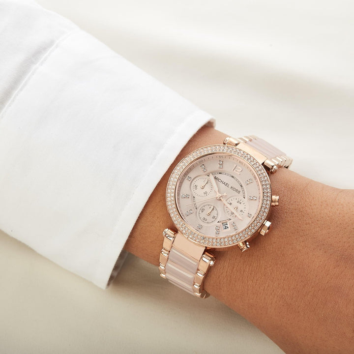 Michael Kors Parker Chronograph Blush Dial Ladies Watch MK5896 Water resistance: 100 meters / 330 feet Movement: Quartz