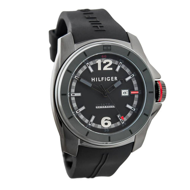 Tommy Hilfiger Black and Grey Dial Rubber Strap Men's Watch 1791114