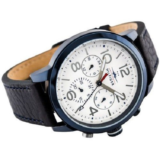 Tommy Hilfiger Jake White Dial Black Leather Strap Men's Watch 1791235