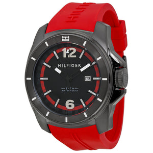 Tommy Hilfiger Black Dial Red Rubber Strap Men's Watch 1791112