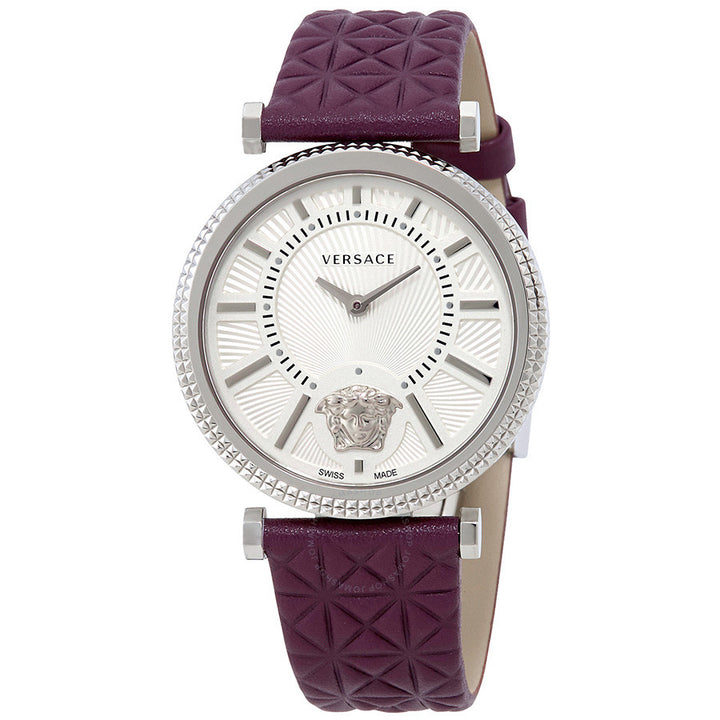 Versace V-Helix Ivory Dial Leather Strap Ladies Watch VQG010015
