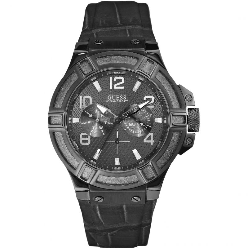 Guess Rigor Black Dial Leather Strap Men's Watch W0040G1