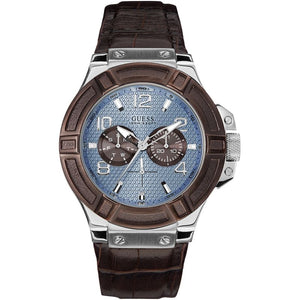 Guess Rigor Blue Dial Leather Strap Men's Watch W0040G10