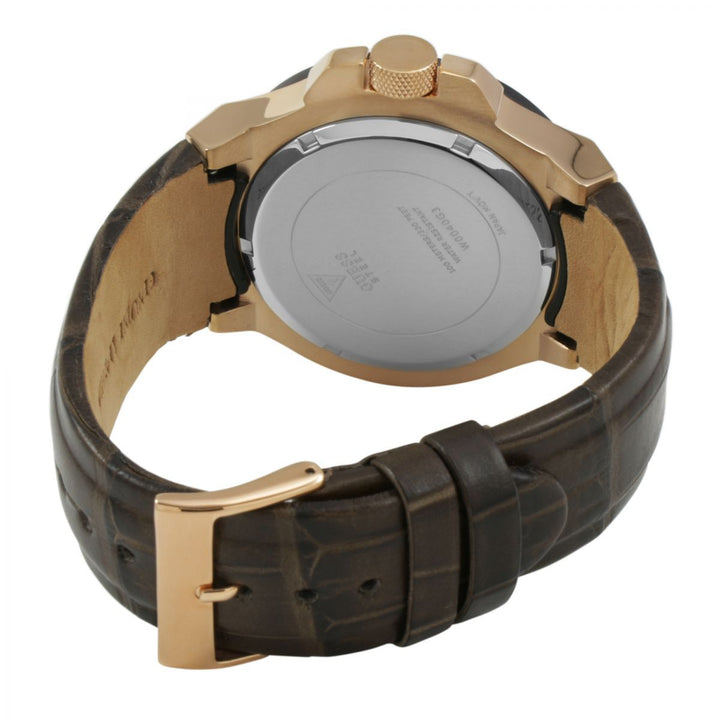 Guess Rigor Brown Dial Leather Strap Men's Watch W0040G3