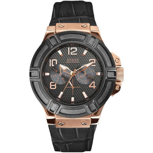 Guess Rigor Black Dial Leather Strap Men's Watch W0040G5