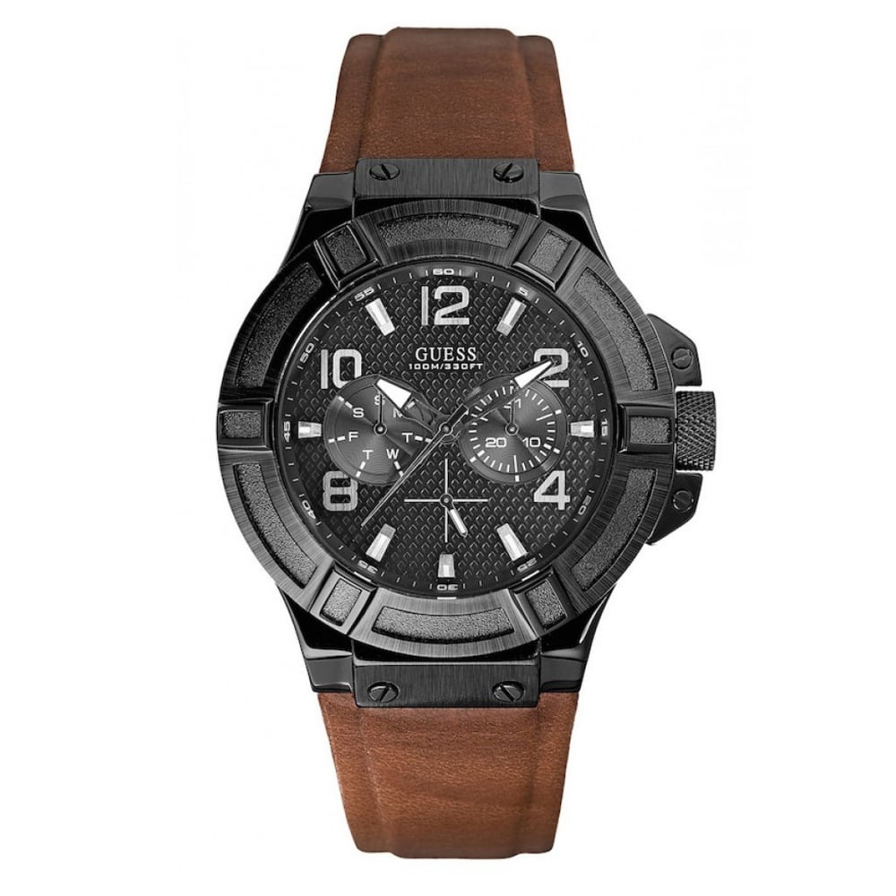 Guess Rigor Black Dial Leather Strap Men's Watch W0040G8