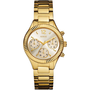 Guess Riviera Champagne Dial Stainless Steel Ladies Watch W0323L2