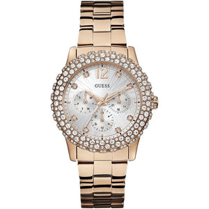 Guess White Dial Rose Gold Stainless Steel Ladies Watch W0335L3