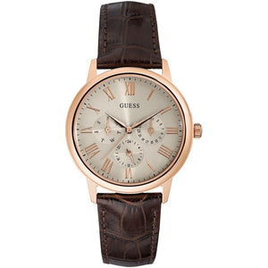 Guess Cream Dial Leather Strap Watch W0496G1