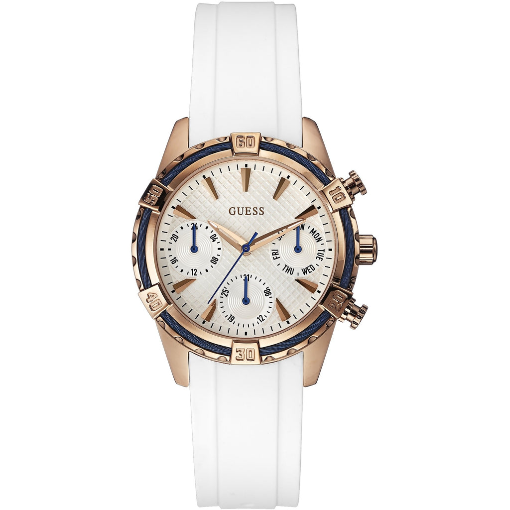 Guess White Dial Rubber Strap Ladies Watch W0562L1