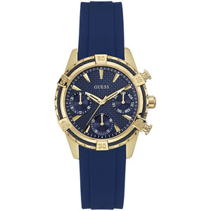 Guess Blue Dial Rubber Strap Ladies Watch W0562L2
