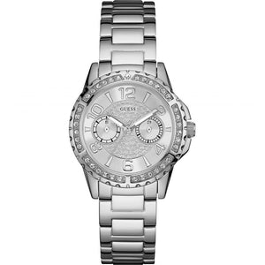Guess Silver Dial Stainless Steel Ladies Watch W0705L1