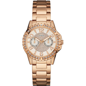 Guess Silver Dial Rose Gold Stainless Steel Ladies Watch W0705L3