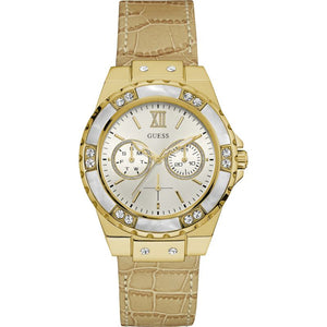 Guess Limelight Cream Dial Leather Strap Ladies Watch W0775L2