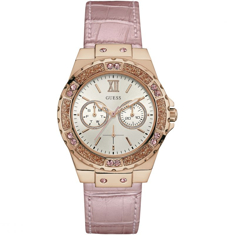 Guess Limelight Cream Dial Leather Strap Ladies Watch W0775L3