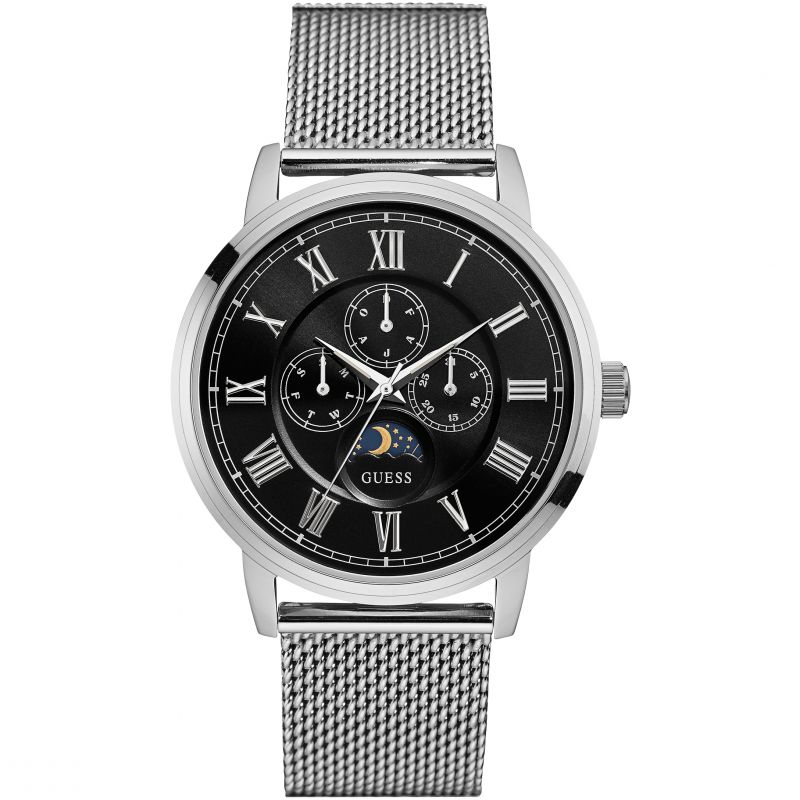 Guess Black Dial Silver-Tone Mesh Men's Watch W0871G1