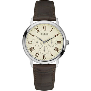 Guess Wafer Cream Dial Leather Strap Watch W70016G2