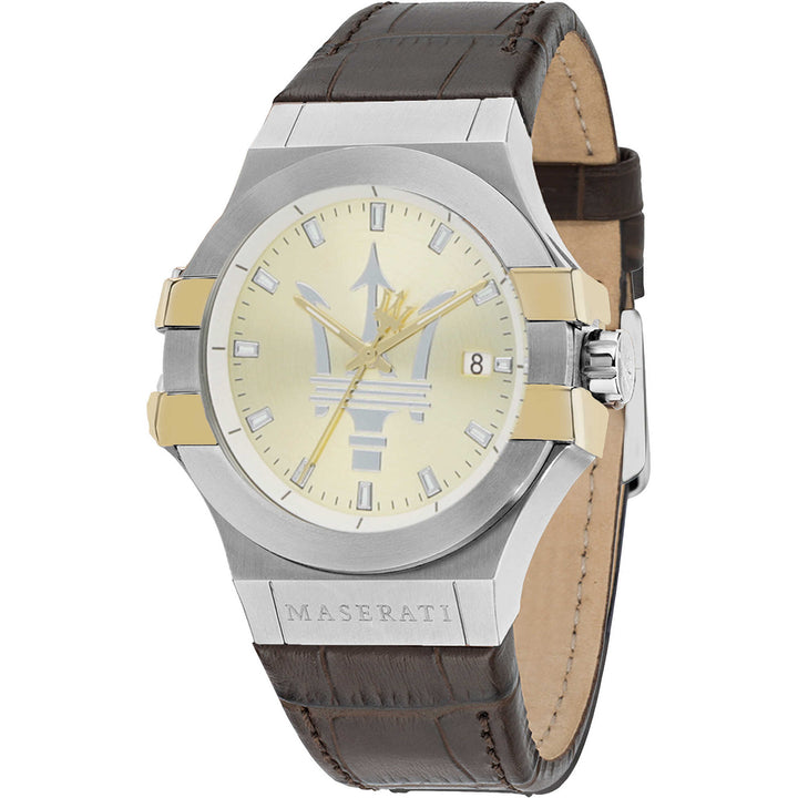 Maserati Potenza Gold Dial Leather Strap Men's Watch R8851108017