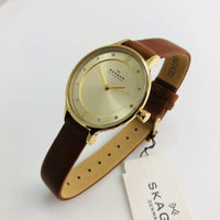 Skagen Anita Champagne Dial Brown Leather Ladies Watch SKW2147